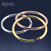 A N Gold Rose Gold Silver Polished Clasp Bangle Bracelet For Women Metal India Stainless Steel