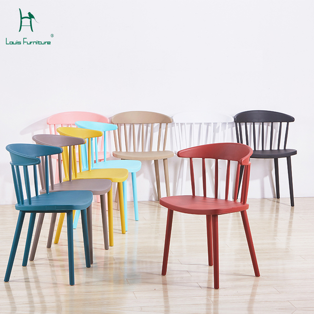 Simple Modern Nordic Style Windsor Chair Plastic Dining Back Balcony Hotel Reception Negotiation Office