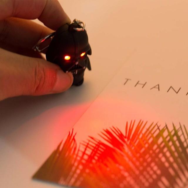 VKME 2018 Star Wars Keyring Light Black Darth Vader Pendant LED KeyChain For Man Gift 2