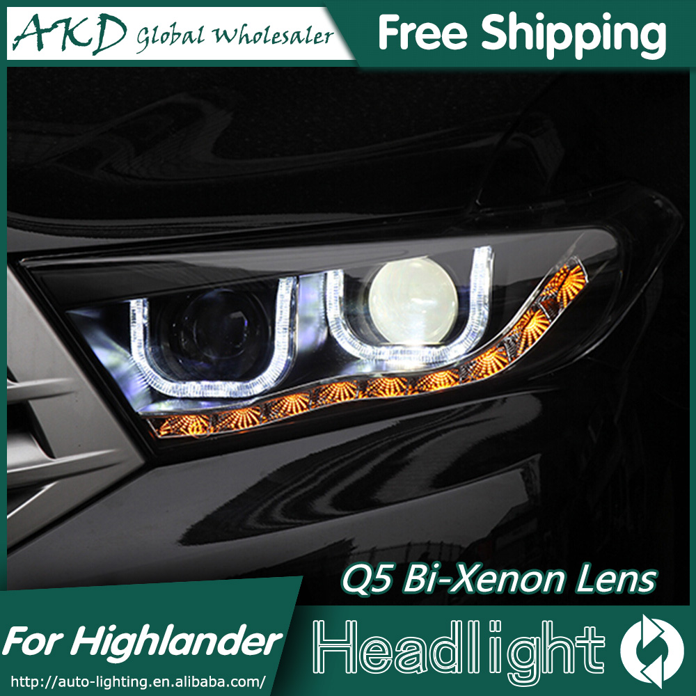 AKD Car Styling for Toyota Highlander LED Headlights 2012 Angel Eye Headlight DRL Bi Xenon Lens High Low Beam Parking Fog Lamp high quality new car led headlight with ballast mask angel eye 35w 6000k car led projector lens headlight