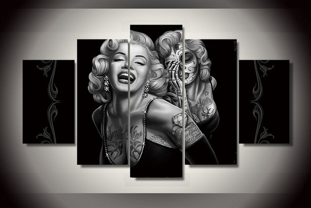 5 Panels Marilyn Monroe Canvas Prints Painting Wall Art 5 Pieces ...