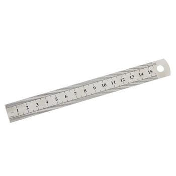 1 Pc 15 centimetri 6 Pollici In Acciaio Inox Metallo Righello Dritto Precisione Doppia Faccia di Apprendimento di Cancelleria Per Ufficio Redazione Forniture 1