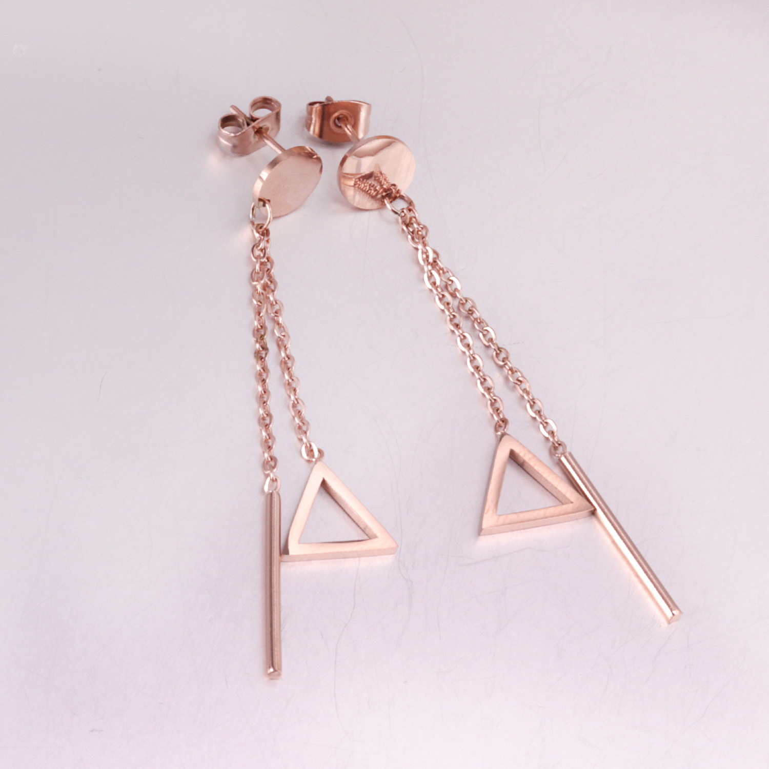 LUXUSTEEL 2018 Fashion Rose Gold Color Triangle Pendant Drop Earrings Stainless Steel Chain Tassel Earring For Women/Girl Party