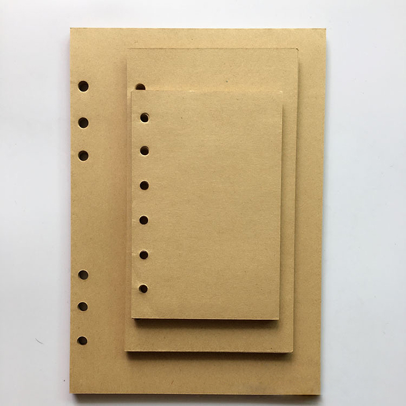 A5 A6 A7 MUJI Style Blank Kraft paper Loose Leaf notebook Spiral vintage Inner Page Refill journal travel planner Dairy diary standard a5 style leather notebook inside loose leaf page have 6 hole on page paper insde 60 pcs quality kraft blank page