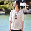 2016 Summer New Solid O-neck Half sleeve Linen Women Blouses White Pink Loose Casual Women Shirts Simple Design Blouse Tops B089