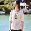 2016 Verão Novo Sólido O Pescoço Meia manga de Linho Mulheres Blusas Rosa branca Mulheres Casuais Soltos Camisas Design Simples Blusa Tops B089