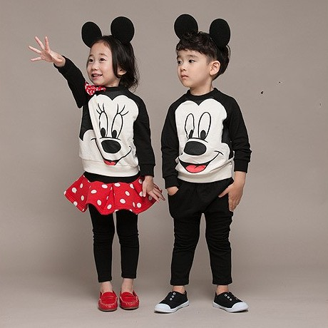 EMS DHL Free Kids Girls Boys 2pc set Cartoon Suit Polka Dot Mouse T Shirt + Skirt Pants 2017 Spring NEW Style Casual Suit