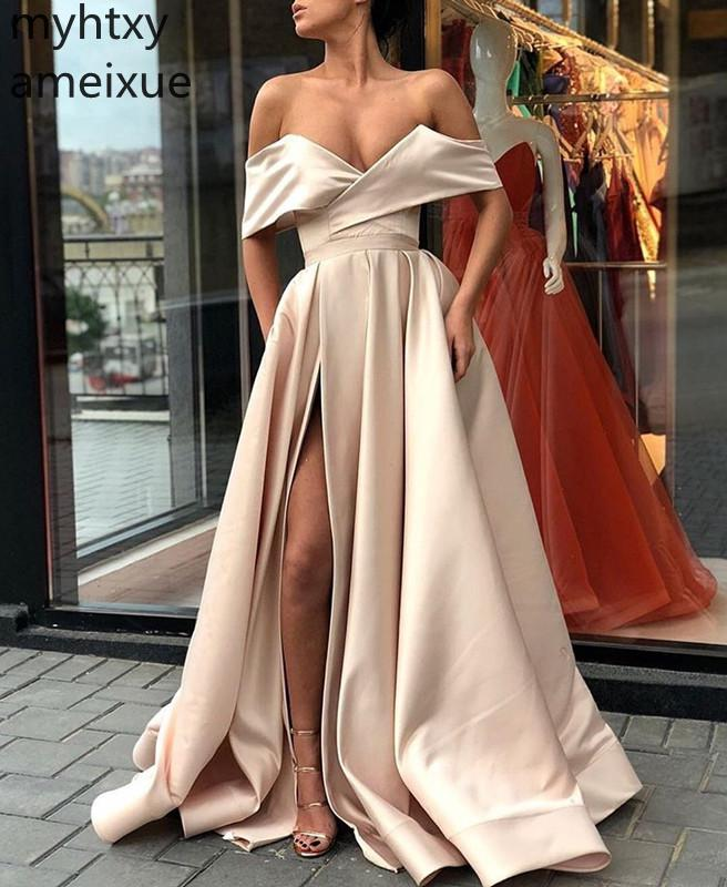 2019 New Sexy Cheap Blue Formal Dress Plus Size Evening Gown Dresses For Women V-neck Sweep Train Robe De Soiree Custom Dress