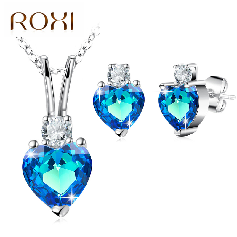 Ocean Heart 925 Crystal Sapphire Set Jewellery & Watches