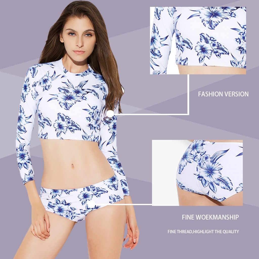 Lengan Panjang Wanita Surf Bra One Biru Bunga Cetak Baju Renang untuk Menyelam Renang Suit K Berlaku Pakaian Selam M09