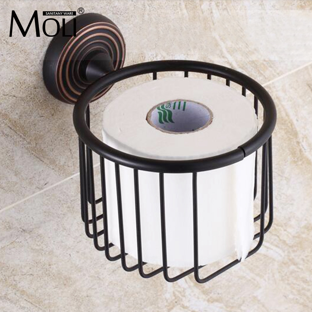 Black classical toilet paper basket oil-rubbed bronze toilet paper roll holder tissue box porta papel higienico black of toilet paper all copper toilet tissue box antique toilet paper basket american top hand cartons
