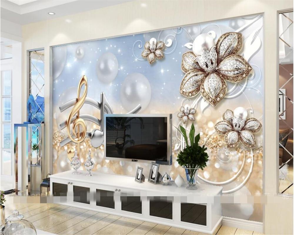 Beibehang Custom High Quality Wallpaper Mural Musical Notes Modern Flower Jewelery Background Wall 3d Wallpaper Papel Para Pared