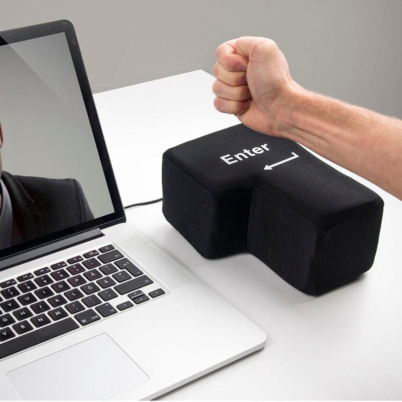 Hot USB Big Enter Key Anti Stress Relief Supersized Enter Key Office Desk Foam Nap Pillow Stress Reliever Supersized Pillows
