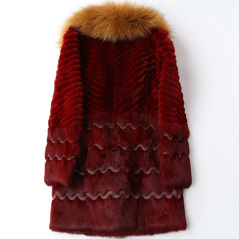 Kaninchen Pelz Rot Frühling Outwear Starke Echt Marderhund Red Natürliche Mäntel Frauen Herbst Lange Mode Weibliche Kragen qR4YxUFY