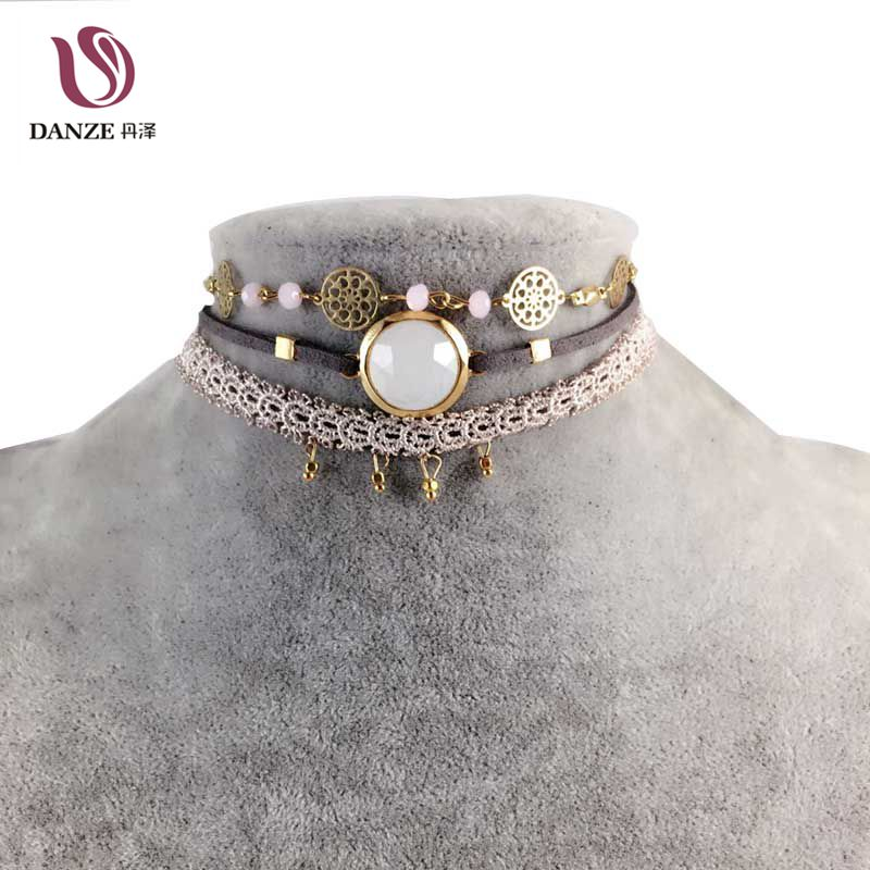 Danze 2017 New Fashion Spring Style Cute Lace Choker Pendant Necklace For Women Vintage Rhinestone Chian Chocker Jewelry Collier