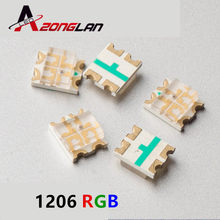 200pcs 1206 RGB SMD 1206 LEVOU Talão 3227 Tricolor RGB Ânodo Comum Vermelho Verde Azul Ultra Bright LED SMD diodo Emissor de luz