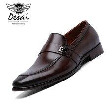 Desai Mens Formal Shoes Genuine Leather Shoe Metal Decorative Business Dress Shoes Men Slip-On Oxfords EUR Size 38-44 Zapatos цены онлайн