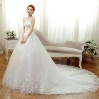2017 Spring Bride Tube Top Slim Long Trailing Bandage Wedding Dress For Bride Gown Appliques Vintage