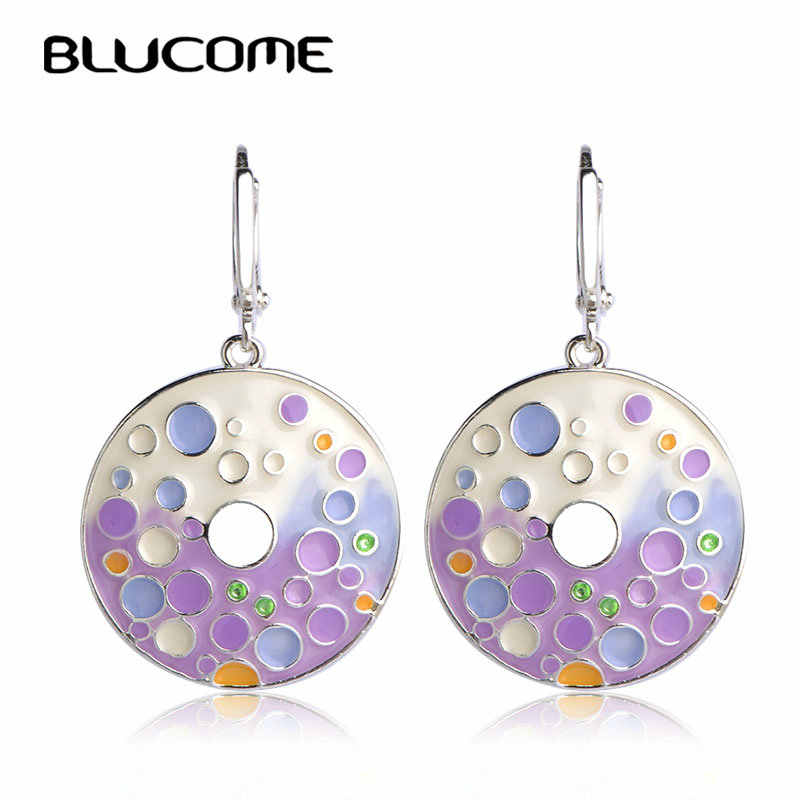 Blucome Special Bubble Shape Round Pendant Earrings Purple Enamel Alloy Long Drop Earrings Women Girls Engagement Gifts Jewelry