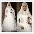 Современная саудоаравийском аравия кружева мусульманин свадебное платье высокая шея дубай Gelinlik бисероплетение длинные рукава женщины носят свадебное платье ( MUSL11 )