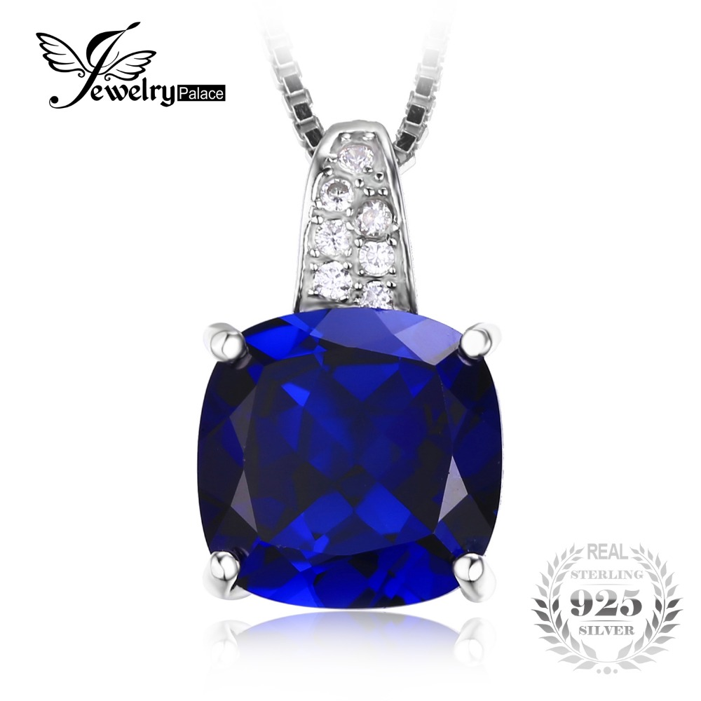 JewelryPalace Cushion 4.9ct Blue Created Sapphires Solitaire Pendant Genuine 925 Sterling Silver Jewelry Pendant For Women