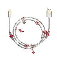(Rojo) angibabe resorte de alambre cable USB 2a 1 M DIY embutido diamante cable de datos de carga rápida para iPhone 8 7 6 IPad aire