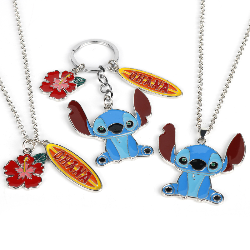 Anime Cartoon Cute Ohana Lilo Stitch Keychain Kawaii Enamel Metal Alloy Pendant Necklace Chaveiro Car Keyring Figures Key Chain