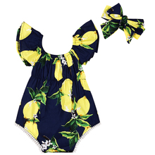 Cute Newborn Baby Girls Floral Watermelon Summer Sleeveless Cotton Bodysuit Jumpsuit Outfits Playsuit Sunsuit with headband
