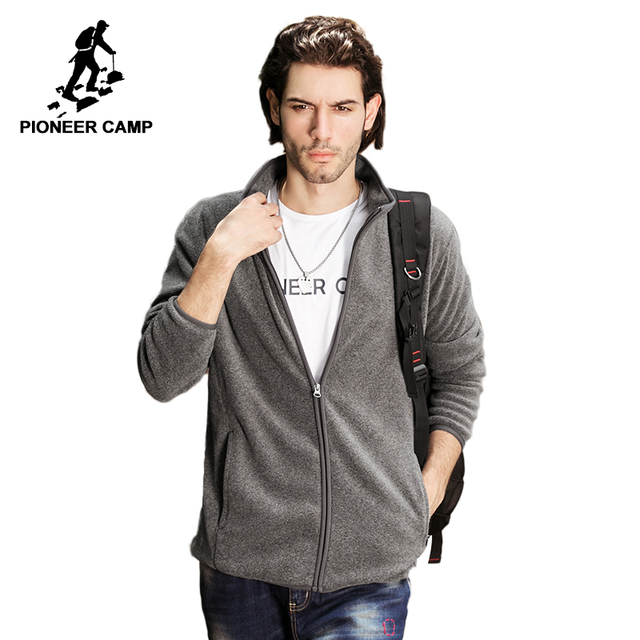 Pioneer Camp solid fleece jacket coat men brand-clothing casual zipper jacket male top quality Outerwear dark blue grey 522172