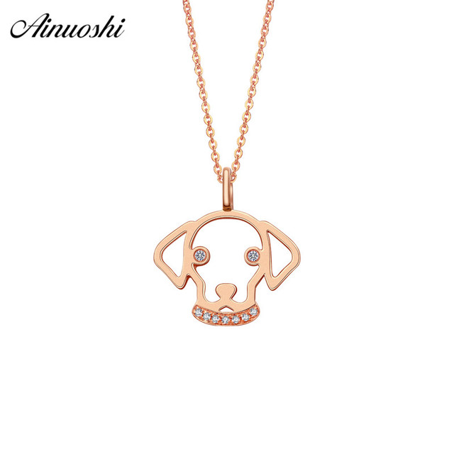 AINUOSHI Luxurious 18K Rose Gold Women Necklaces Pendants Diamonds