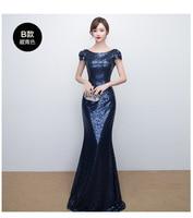 dfe29d0294ce3 Navy Blue Women Slim Party Dress Floor Length Evening Cheongsam Marriage  Gown Luxury Sexy Wedding Long