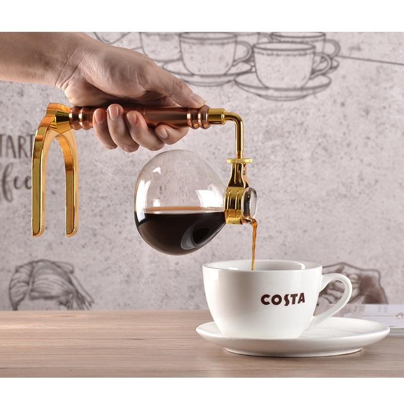 Japanese Style Siphon Coffee Maker Tea Siphon Pot Vacuum Coffeemaker Glass Type Coffee Machine Filter Kahve Makinas 3cup 5cup 4