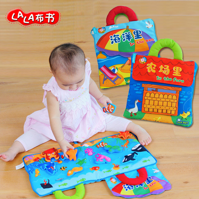 lalababy hand grasp stereo house cloth book cartoon animal in the sea farm early development cognitive infant newborn gift toy