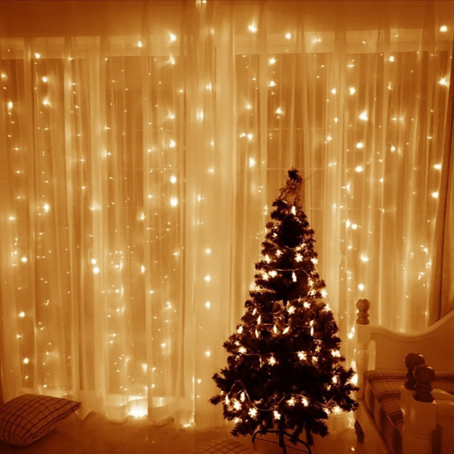 Free Shipping 9.8ftx9.8ft 300 LED Curtain Lights String Christmas Wedding  Bedroom Party Decoration Indoor Outdoor Warm White
