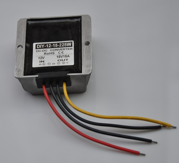 Up Converter Boost Power Module DC 12V (9V-13V) To 15V 15A 225W DC DC Step For Car PoweWaterproof