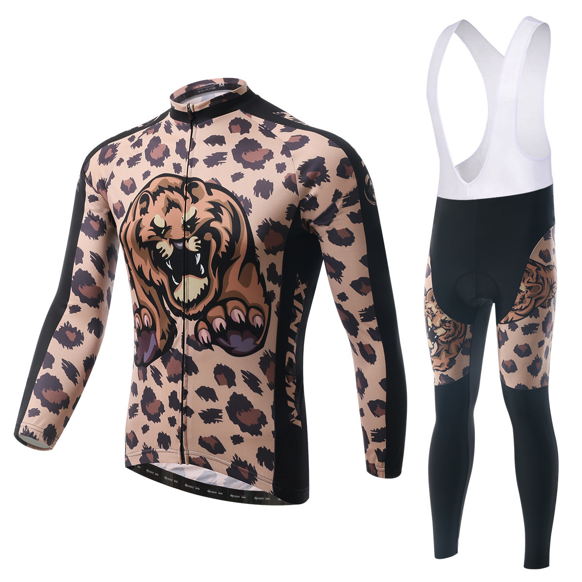 BOODUN Brown Leopard Riding Suit Straps Long Sleeve Suit Bicycle Serve Catch Down Windbreak Keep Warm Function Underwear
