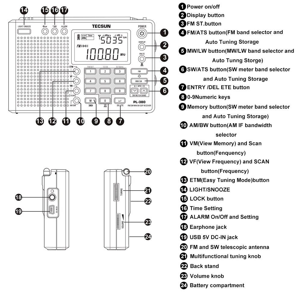 Tecsun PL-380 PL380 raadio Digitaalne PLL Kaasaskantav raadio FM - Kaasaskantav audio ja video - Foto 3