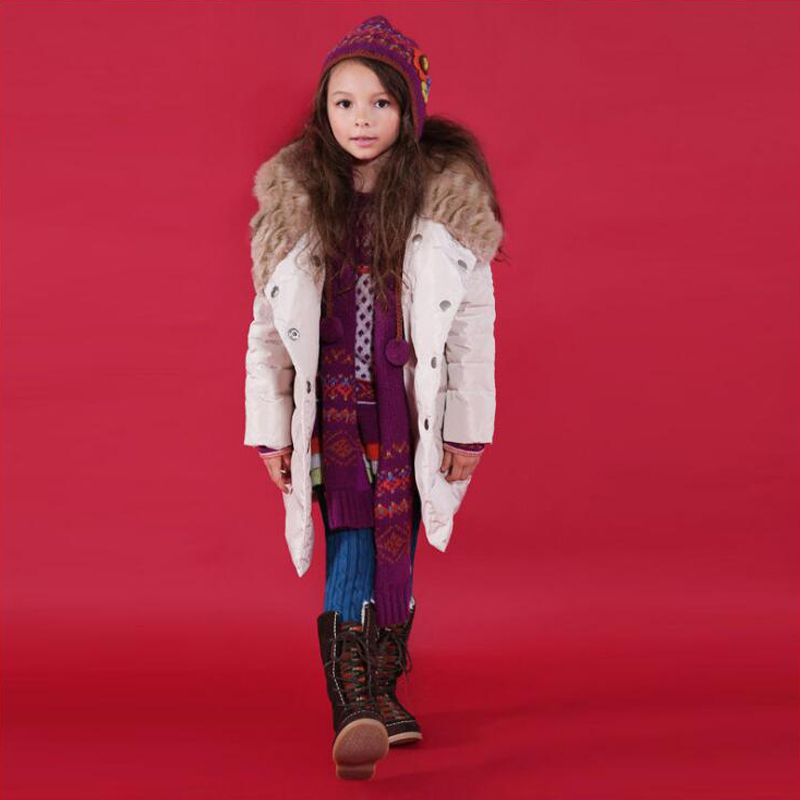 Buenos Ninos high quality 3-12T girls white duck downs false fur hooded double breasted light khaki winter thick coats&jackets buenos ninos серый номер l