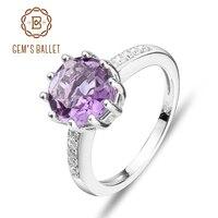 BALET GEM'S 925 Srebro Naturalne Ametyst Gemstone Rings Trendy Klasyczne Zaręczynowy Fine Jewelry dla Kobiet Prezent 2017 NOWY