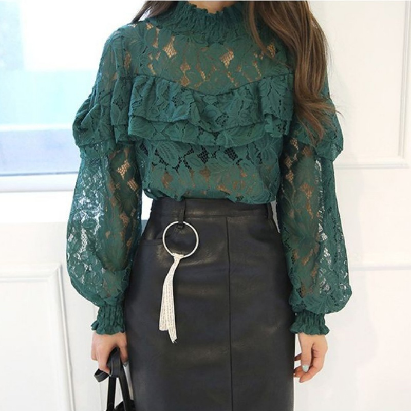 Sexy White Green Black Lace Flower   Blouse     Shirt   Hollow Out Mesh Ruffle Transparent Blusas Women Lantern Sleeve   Blouse
