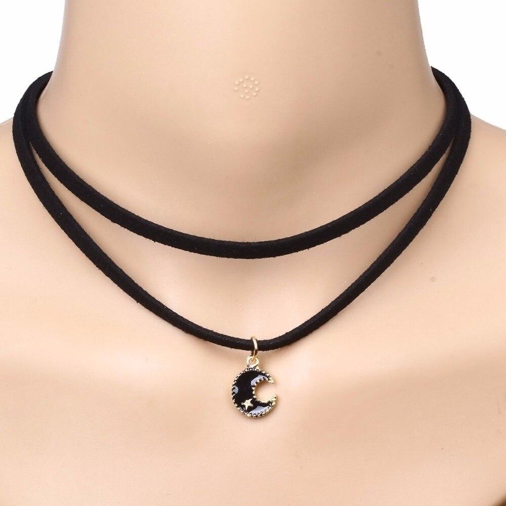 ElegantRose богемный черный двойной Слои кожа Colar колье Цепочки и ожерелья для Wonder Для женщин Луна Звезда Кулон NR3310