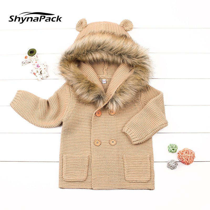 a818ce2a3ea8 Winter Warm knitted wool baby jacket with Detachable fur collar ...
