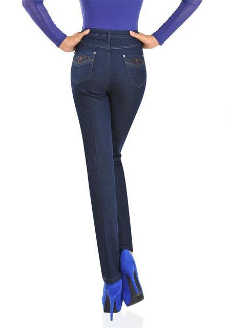 Autumn Women Pants Elegant Mother Denim Pants High Waist Jeans Straight Elastic Middle Age Plus Size Jeans
