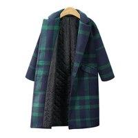2018 Winter European Style Women Jackets Plus Size XL 4XL Wool&Blends Thick Ladies Coats Plaid Pockets Long Sleeve Outerwear