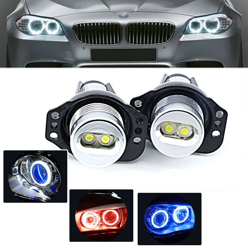 2pcs Ultra Bright  White Blue Red  LED 20W Angel Eyes  Halo Rings Bulb For BMW E90 E91 3 Series 325i 328i 335i 2006-2008