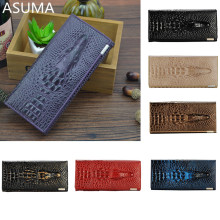 12 Colors Genuine Leather 3D Embossing Alligator Ladies Crocodile Long Clutch Wallets Women Wallet Female Coin Purses Holders