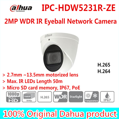 Original Dahua 2MP WDR IR Eyeball Network Camera IPC-HDW5231R-ZE 2.7mm ~13.5mm motorized lens IR 50M  Free shipping dahua 2 7mm 12mm motorized lens 2mp wdr ir eyeball network camera ipc hdw5231r z free dhl shipping