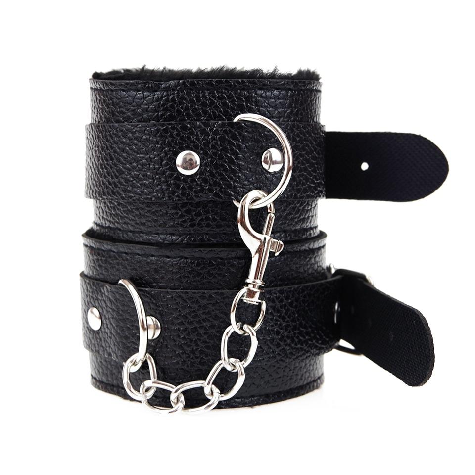 Image 3 - DOMI Adjustable PU Leather Plush Handcuff Ankle Cuff for Couple Restraints Bondage Sex Bondage Exotic Accessories Sex Toy    -