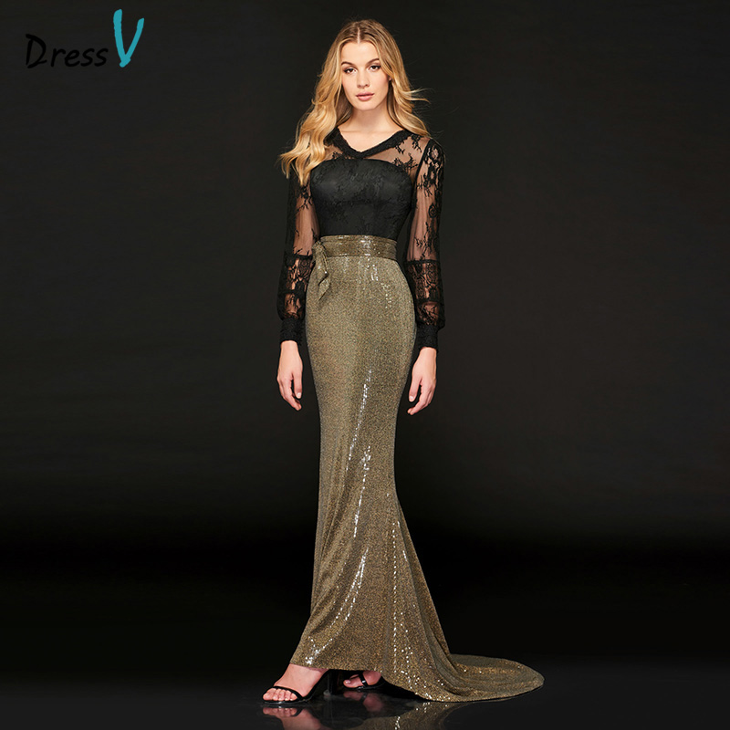 Dressv Elegant Evening Dress Long Sleeve Sequins Sweep Train High Waist V Neck Celebrity Mermaid Lace illusion Evening Dress