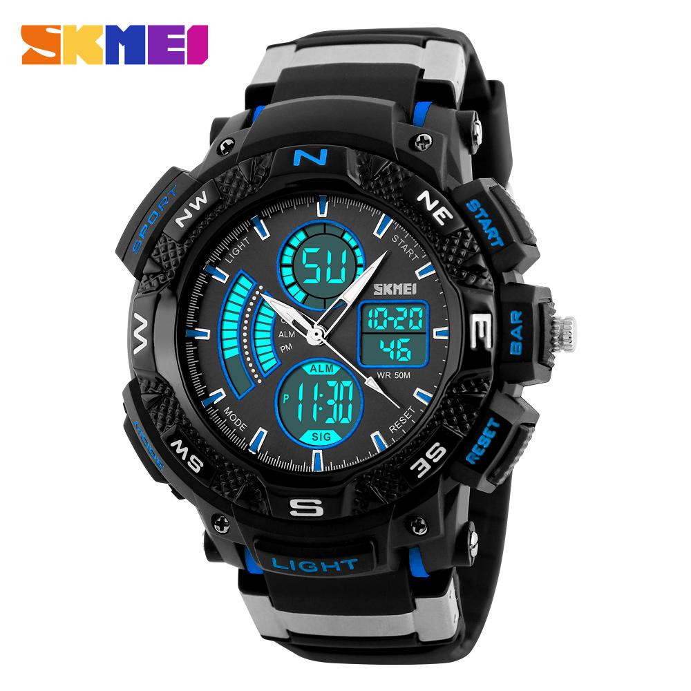 Prix pour SKMEI marque hommes sport montres de luxe numérique LED électronique montres multifonction extérieure imperméable militaire montres